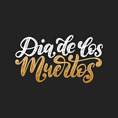 Dia De Los Muertos translated from Spanish Day of the Dead handwritten phrase. Vector illustration on black background.