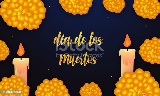 istock Dia de los muertos with candle and flowers 1288074308