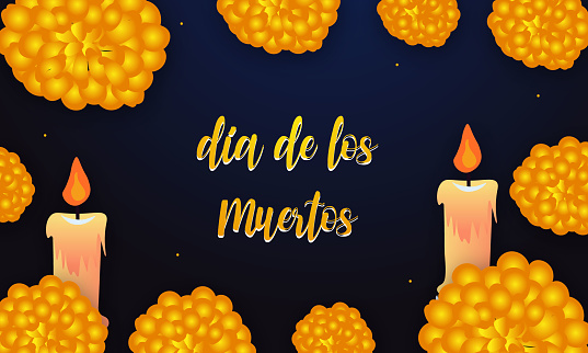 Dia de los muertos with candle and flowers