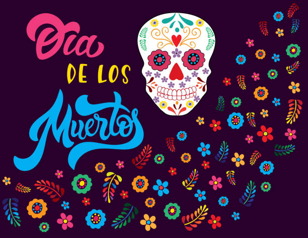 Dia de los muertos with skull and flowers. vector art illustration