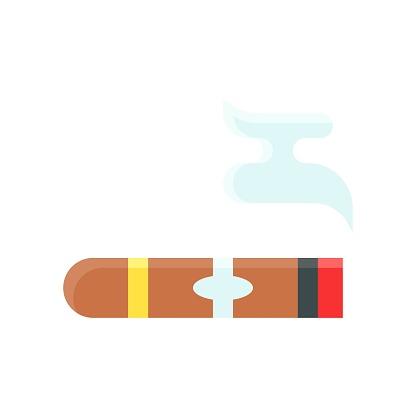 dia de los or muertos related muertos cigar with samok vector in flat style,