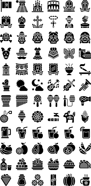 dia de los related flag, pyramid, bridge, rest in peace, skull, dog face, cross sign, characters, incense, dead photos, yo yo, trumpet, rabbit, cigar, corn, salt and juices vector in solid design,