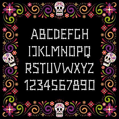 Dia de muertos bone font and festive flower frame