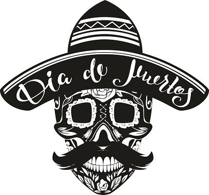 Dia de Muertos Day Dead. Black Skull in Mexican Hat