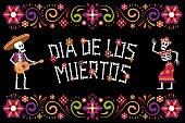 istock Dia de Muertos Day of dead - ornamental flower frame. 1278423811