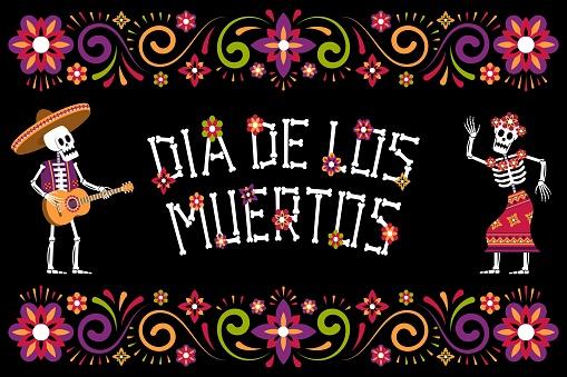 Dia de Muertos Day of dead - ornamental flower frame.