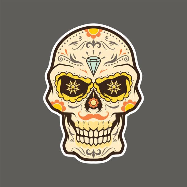 dia de muertos, el muerto, los muertos, day of the dead skull illustration vector - diamond tattoos stock illustrations, clip art, cartoons, & icons