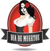 Dia de muertos girl icon