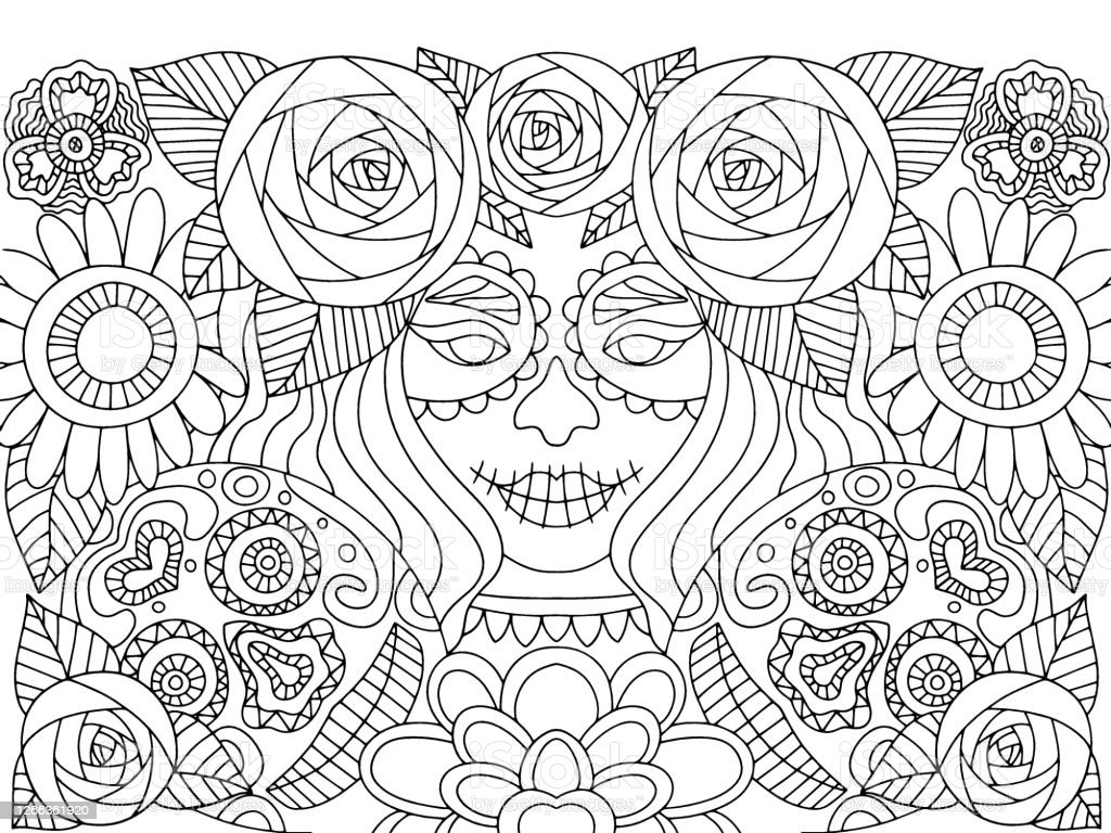 Dia De Muertos Make Up Girl With Flowers And Skull Coloring Page Vector Stock Illustration Download Image Now Istock