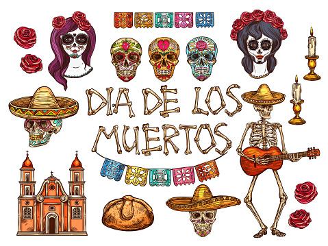Dia de Muertos Mexican Day of Dead sketch symbols