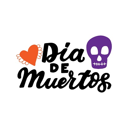 Dia de muertos quote with heart and sugar skull. Happy Day of the Dead. All soul day, mexicano tradicional festive family holiday. Remembering. Spanish ethnic carnival. Hand lettering.