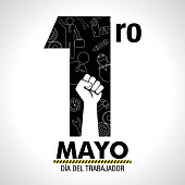 Dia del Trabajador - International Worker's Day in Spanish language - greeting card. Icons of woman, man, hammer, gears, fist, computer, pencil, clock inside number one in black color on white background
