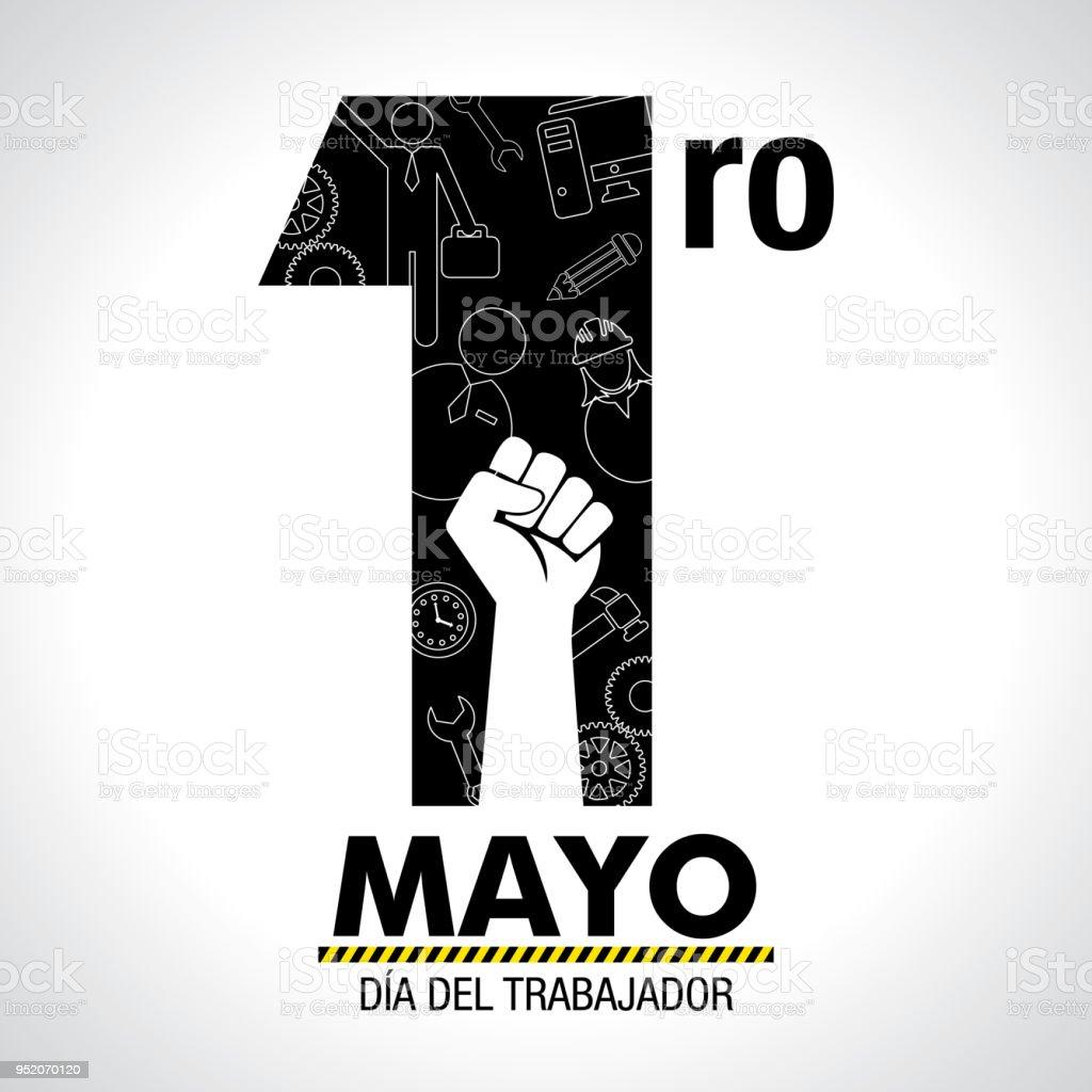 Dia del Trabajador - día del trabajador internacional en lengua española - tarjeta de felicitación. Los iconos de mujer, hombre, martillo, engranajes, puño, ordenador, lápiz, reloj interior número uno en color negro sobre fondo blanco - ilustración de arte vectorial