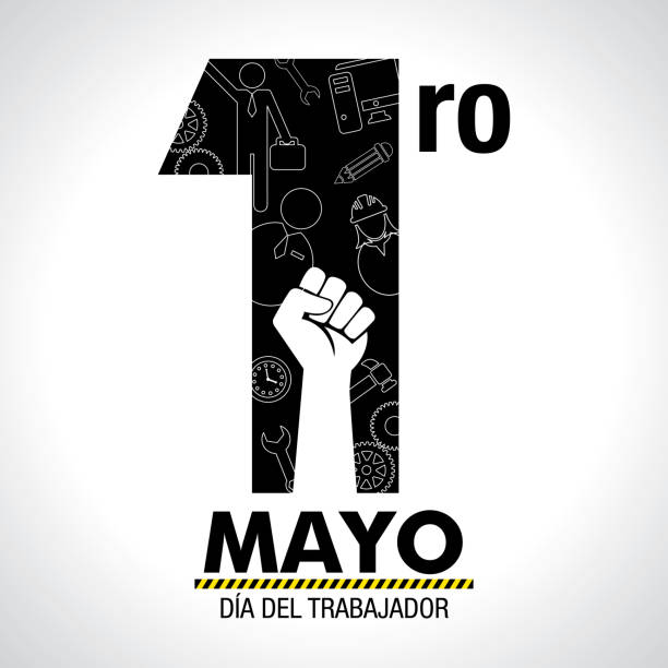 dia del trabajador - international worker's day in spanish language - greeting card. icons of woman, man, hammer, gears, fist, computer, pencil, clock inside number one in black color on white background - may day stock illustrations, clip art, cartoons, & icons