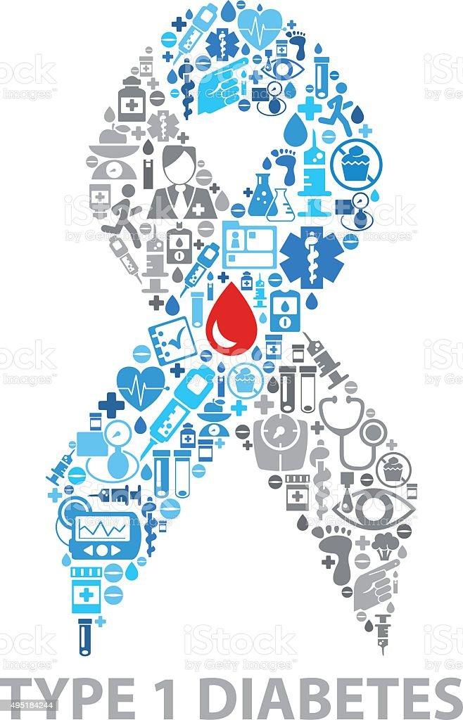 clip de vector de cinta de diabetes tipo 1