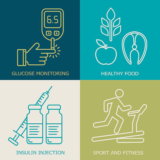 Diabetes background. Live with diabetes icons. – Vektorgrafik