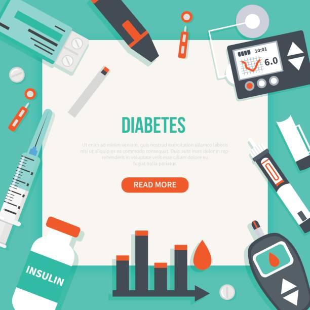 Diabetes banner Diabetes concept banner. Vector medical illustrations. chronic illness stock illustrations