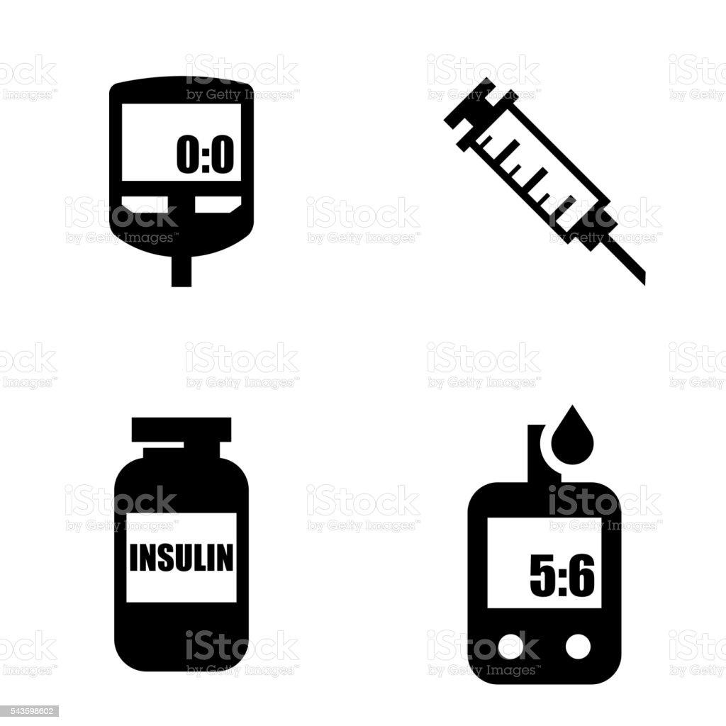 Diabetes black icon set. Blood Glucose Test. vector art illustration