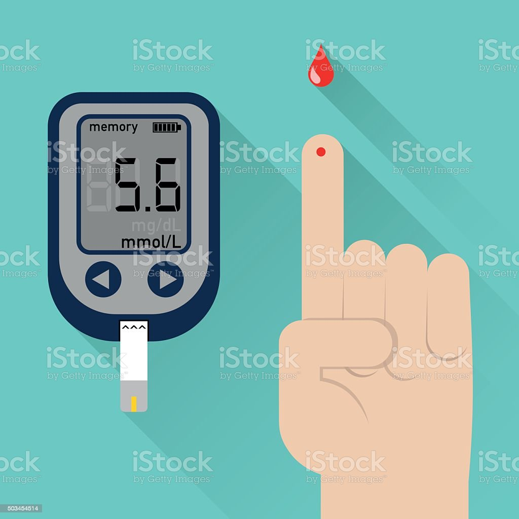 Diabetes blood glucometer and finger prick vector art illustration