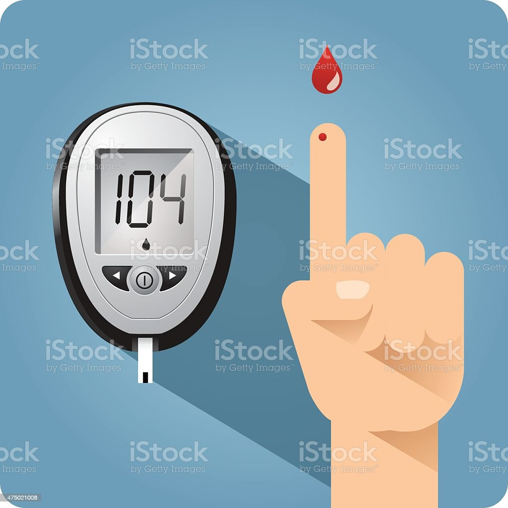 Diabetes blood glucose meter and finger prick vector art illustration