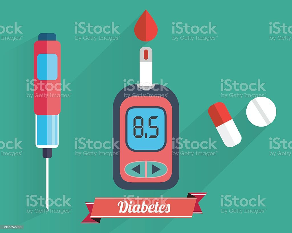 Diabetes Blood Glucose Test vector art illustration
