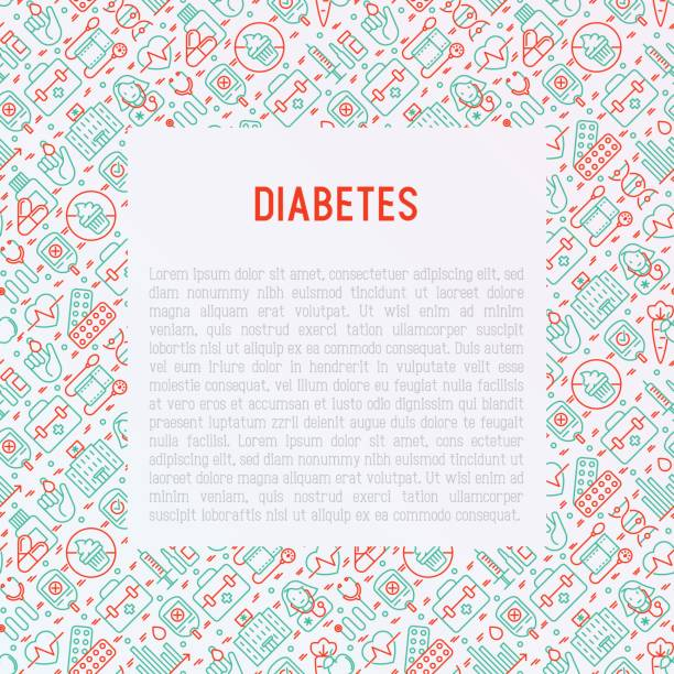 diabetes concept with thin line icons of symptoms and prevention care. vector illustration for background of medical survey or report, for banner, web page, print media with place for text. - vegetable blood stock illustrations, clip art, cartoons, & icons