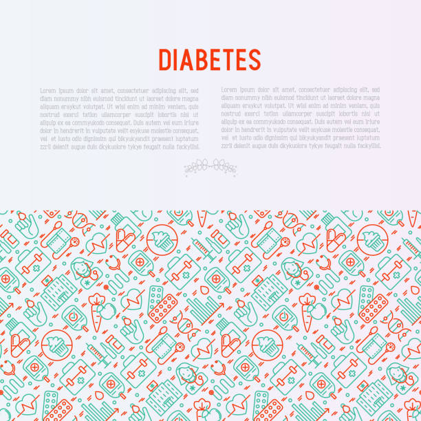 diabetes concept with thin line icons of symptoms and prevention care. vector illustration for background of medical survey or report, for banner, web page, print media. - vegetable blood stock illustrations, clip art, cartoons, & icons