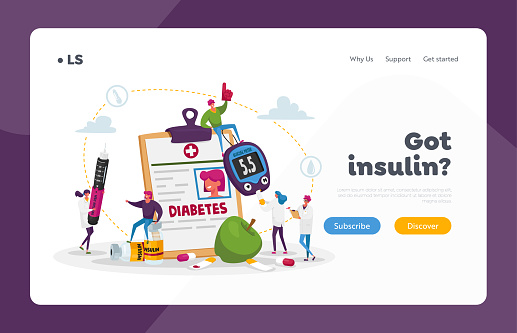 Diabetes Disease, High Sugar Level in Blood Landing Page Template. Tiny Characters with Glucose Meter and Insulin Pen