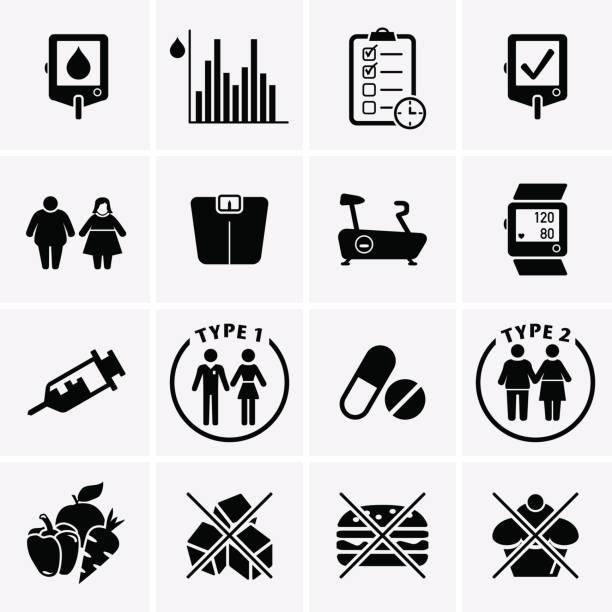 diabetes disease icons set - vegetable blood stock illustrations, clip art, cartoons, & icons