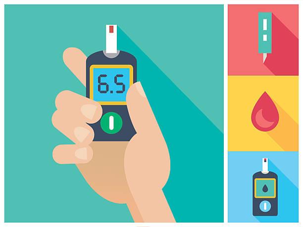 stockillustraties, clipart, cartoons en iconen met diabetes flat icon set hand holding glucometer - bloedsuikertest