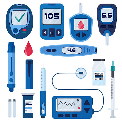 Diabetes flat vector infographic elements set in cartoon style. Diabetes equipment icon collection. Insuline pump, glucometer, syringe, pen, lancet, test strips. Concept of healthcare and prevention