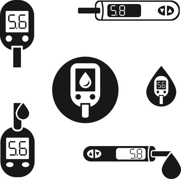 Diabetes Glucometer Icons 08 A Beautiful vector diabetic set. Blood testing flat icons. Medical editable illustration in black color isolated on white background. chronic illness stock illustrations