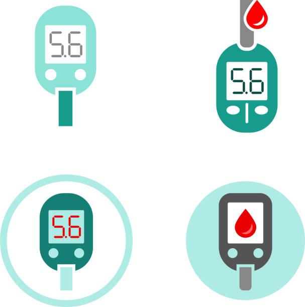 stockillustraties, clipart, cartoons en iconen met diabetes glucometer icons - bloedsuikertest