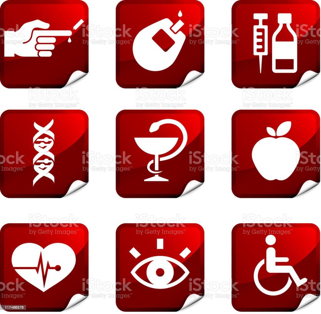 Diabetes health care nine royalty free vector icon set royalty-free stock vector art