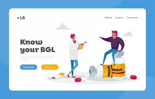 Diabetes, High Sugar Level in Blood Landing Page Template. Doctor Character and Patient with Illness, Insulin Injection