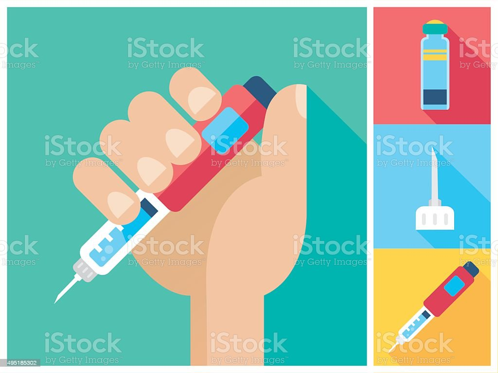 Diabetes icon set - Hand holding Insulin Injection Pen vector art illustration