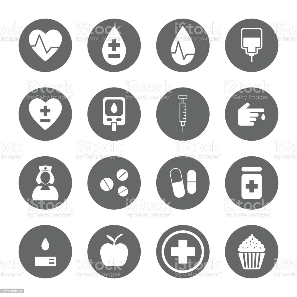 diabetes icons set vector art illustration