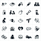 A set of diabetes icons. The icons include diabetic medical equipment, blood, glucose meter, vial of blood, medical checkup, high blood pressure, blood pressure check, doctor, physician, insulin, overweight person, medication, weight scale, healthy foods, junk food, syringe, pharmacy, exercise and a pancreas to name a few.