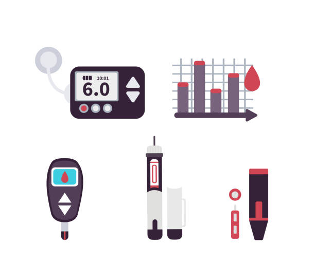 diabetes icons Diabetes icons and infographic element.. Flat style vector illustration isolated on white background. chronic illness stock illustrations