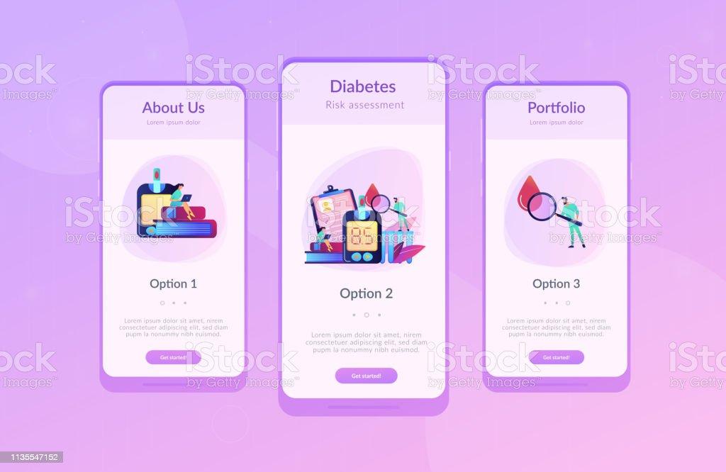 Diabetes Mellitus App Interface Template Stock Illustration