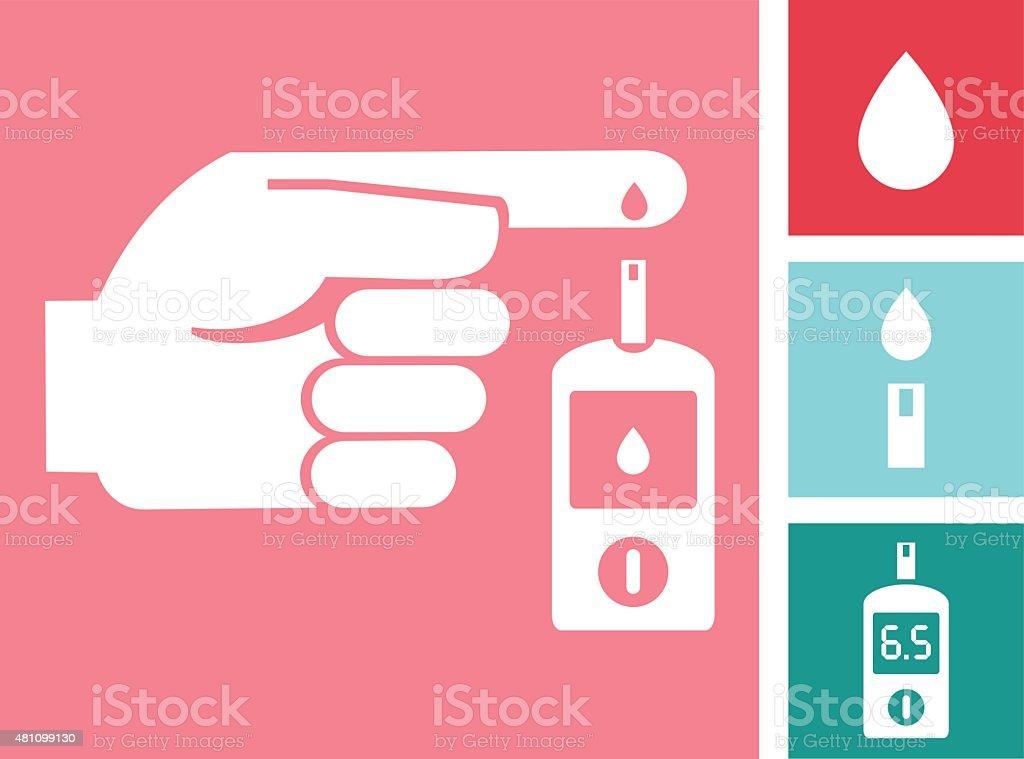Diabetes Mellitus Blood Glucose Test Icon Set vector art illustration