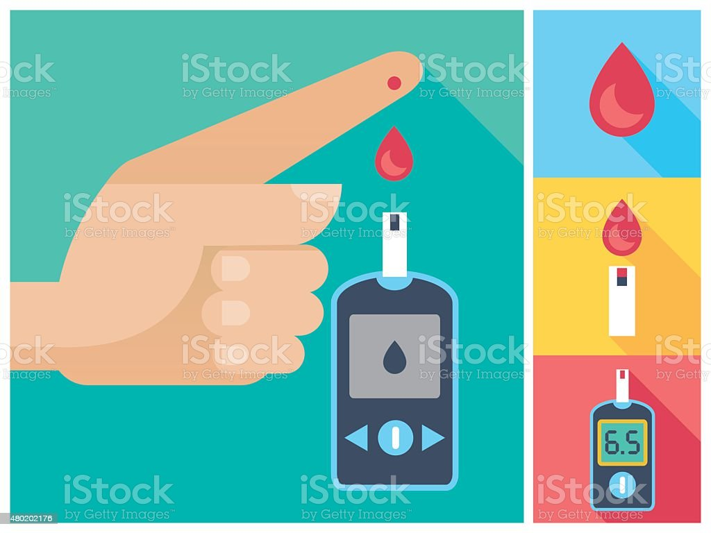 Diabetes Mellitus Icon Set Human Hand Blood To Glucose Meter vector art illustration