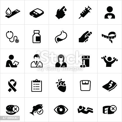 Icons related to diabetes, it's complications and preventative measures. The vector icons symbolize medications, exercise routines, healthcare and foods associated with the prevention and treatment of diabetes.