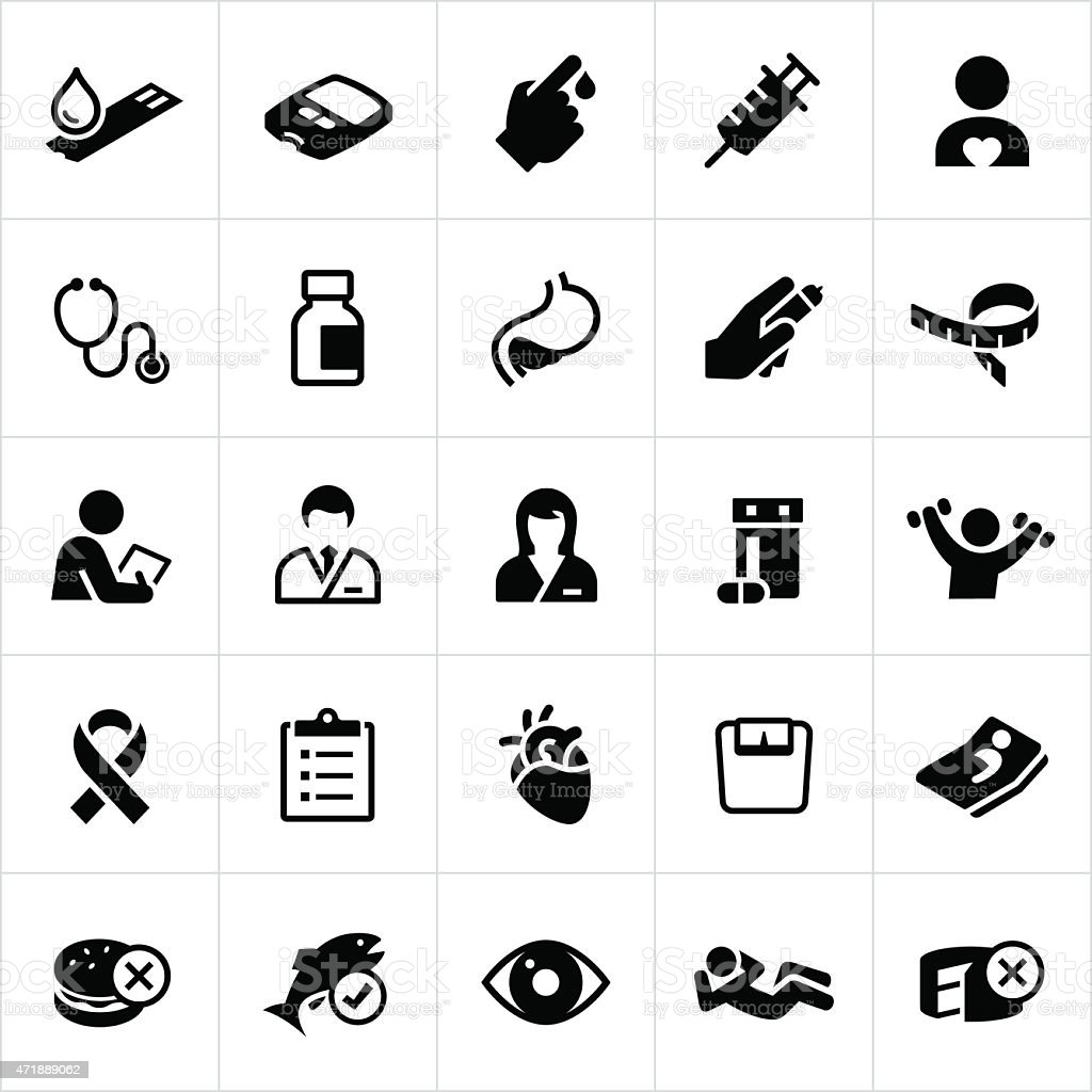 Diabetes Mellitus Icons vector art illustration