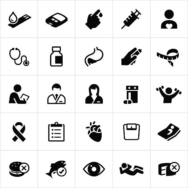 Diabetes Mellitus Icons Icons related to diabetes, it's complications and preventative measures. The vector icons symbolize medications, exercise routines, healthcare and foods associated with the prevention and treatment of diabetes. chronic illness stock illustrations