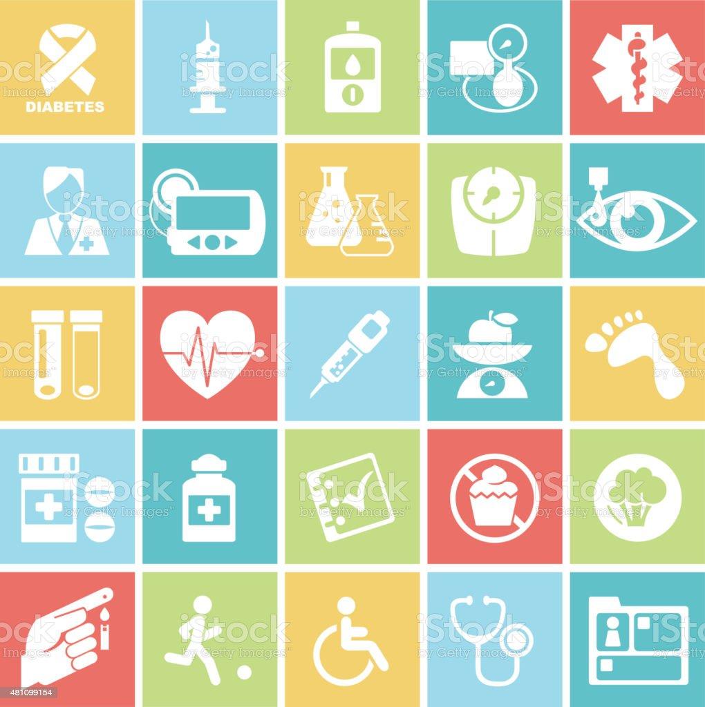 Diabetes Mellitus Medical Icons On Square Badges Set vector art illustration