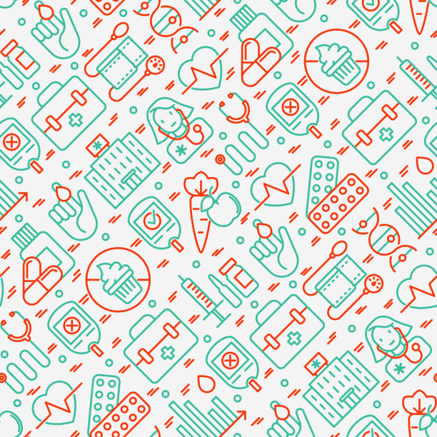 diabetes seamless pattern with thin line icons of symptoms and prevention care. vector illustration for background of medical survey or report, for banner, web page, print media. - vegetable blood stock illustrations, clip art, cartoons, & icons