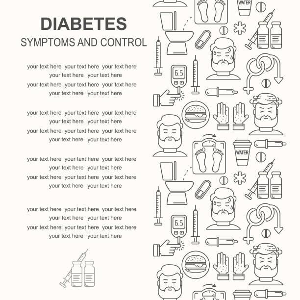 Diabetes Symptome und Kontrolle Vektor-Linie Stil Hintergrund. Häufiges Wasserlassen, verschwommenes sehen, sexuelle Probleme, hoher Blutzucker, hungrig, durstig lineare Abbildung. – Vektorgrafik