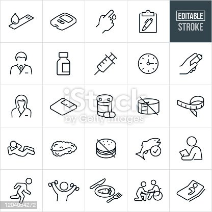 A set of diabetes icons that include editable strokes or outlines using the EPS vector file. The icons include patient with diabetes, endocrinologist, blood glucose, glucose test, glucose test strip, male doctor, female doctor, nurse, insulin, syringe, lancet, medical test, lancet, weigh scale, medication, unhealthy foods, tape measure, person doing sit-up, pancreas, fish, person exercising, healthy food, person in wheelchair and a patient in a hospital bed.