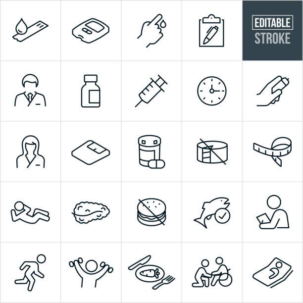 Diabetes Thin Line Icons - Editable Stroke – Vektorgrafik